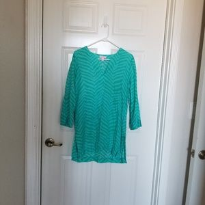 Lilly pulitzer tunic shirts cover up SZ S green